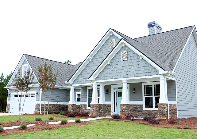 Exterior Paint Color. Exterior Gray Paint Color. Gray Exterior Paint Color Palette. Door: Waterscape by Sherwin-Williams; Siding: Dovetail by Sherwin-Williams #Graypaitcolor #ExteriorGrayPaintColor #Exteriorpaintcolor #Grayexterior #Grayexteriorcolorpalette Addison's Wonderland