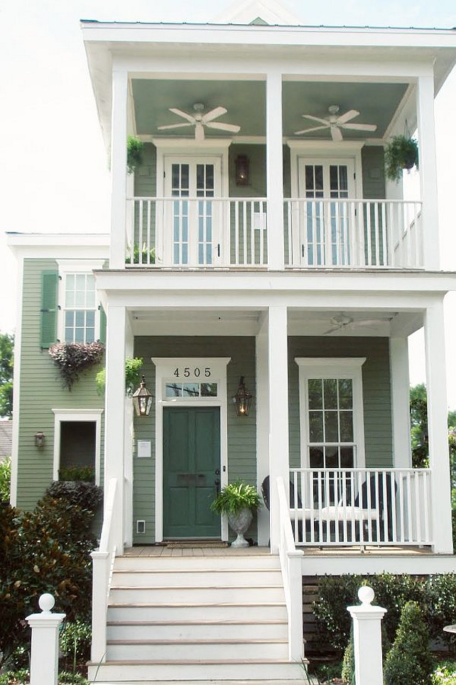 Exterior Paint Color. Siding and Front Door Paint Color. Raintree Green 1496 Benjamin Moore. Frostine AF-5 Benjamin Moore. From The Lettered Cottage.