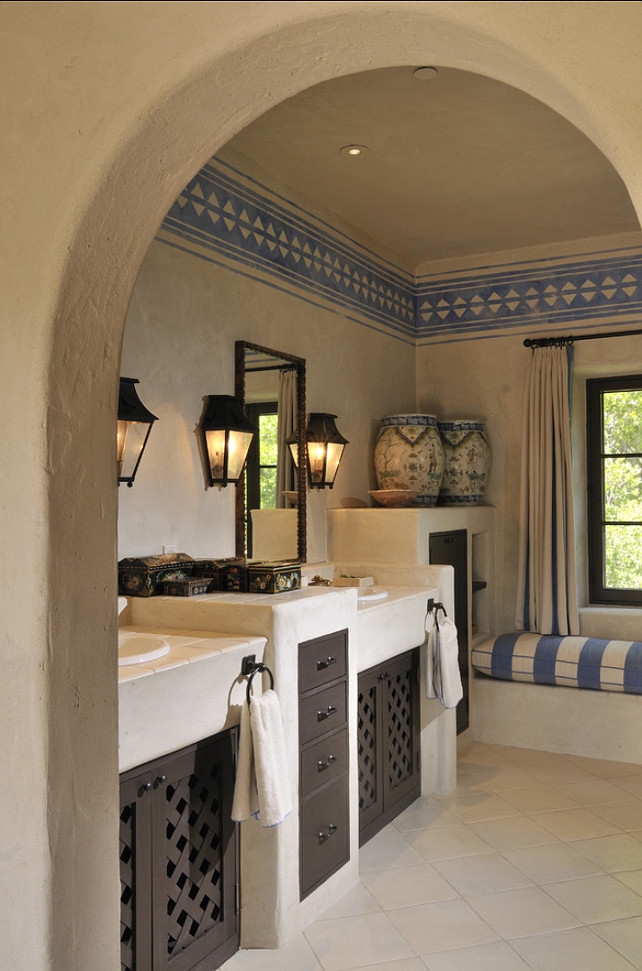 Bathroom. Mediterranean Bathroom Design. #Bathroom #MediterraneanInteriors