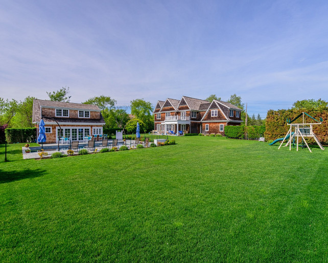 Family Home Backyard with pool, poolhouse and plenty of space for the kids to run! #FamilyHome #Backyard  Via Sotheby's Homes.