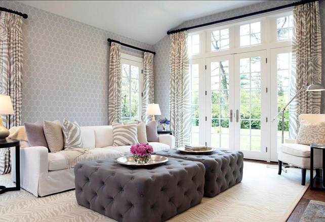 Family Room Design Ideas. Slipcovers were used on the lighter colored items to keep everything washable and easy to maintain. #FamilyRoomDesign #FamilyRoomIdeas
