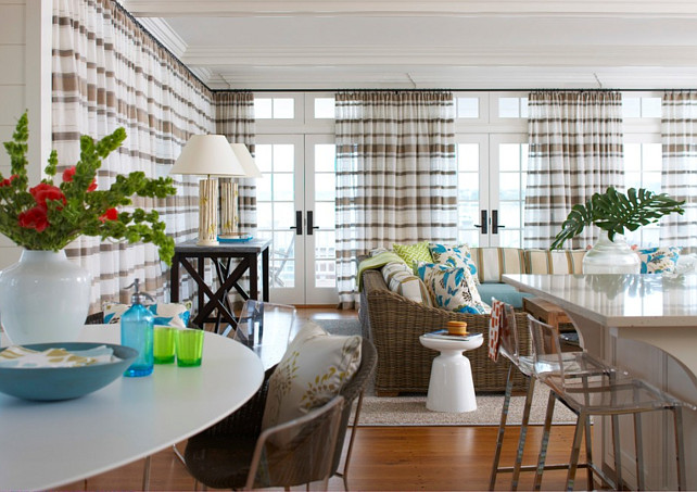 Family Room Drapery Ideas. Family Room Drapery. #Drapery  #FamilyRoomDrapery #DraperyFabric Brooks and Falotico Associates, Inc.