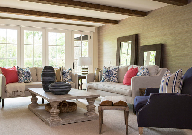 Family Room. Family Room with Blue and white decor. Blue and white interiors. #FamilyRoom #Bluewhitedecor Designed by Martha O'Hara Interiors.