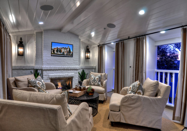 Family Room. Stylish Family Room. Family Room Design. This is a white lacquer finish applied to a MDX t&g ceiling