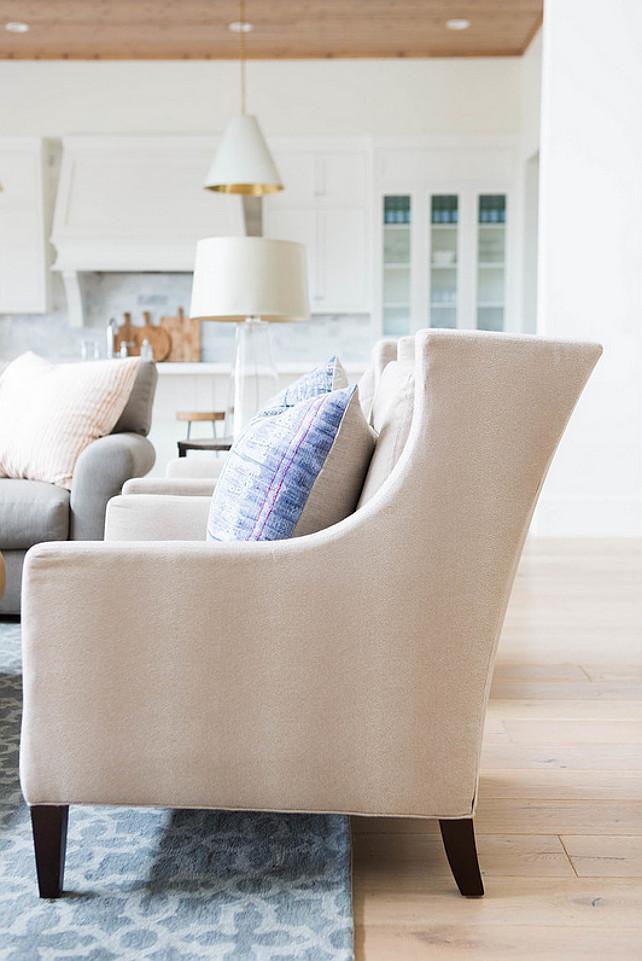 Family room chair. Family room or living room neutral linen chair. #Chair #FamilyRoom #LivingRoom Ashley Winn Design.