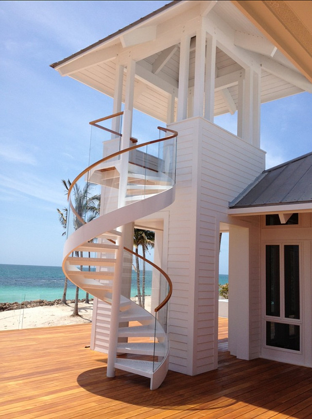 Staircase Ideas. This staircase is incredible, just like the view! #Staircase #BeachHouse