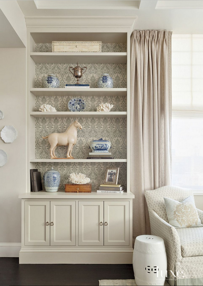 Farrow & Ball's Wimborne White. Cabinet painted in Farrow & Ball's Wimborne White. #FarrowandBallWimborneWhite Jenny Wolf Interiors.