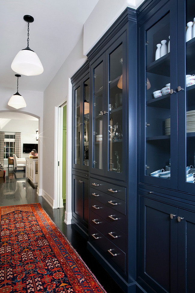 Farrow and Ball Downpipe. Navy Cabinet Paint Color. Farrow and Ball Downpipe. Farrow and Ball Downpipe. #FarrowandBallDownpipe Burnham Design.