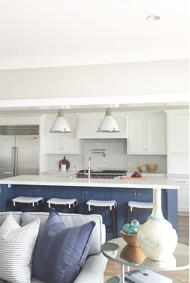 Farrow and Ball Stiffkey Blue. The kitchen island color is Farrow and Ball Stiffkey Blue. Brooke Wagner Design. #FarrowandBallStiffkeyBlue