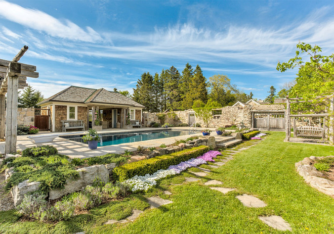 Fenced Pool House and Pool Area. Country Home Pool House. Country Home Pool. Country Home pool house and pool area ideas. #pool #CountryHome #PoolHouse