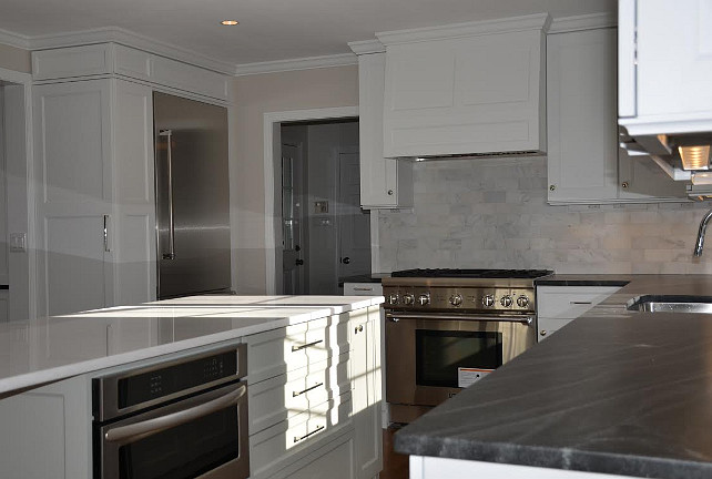 Fieldstone Benjamin Moore Gray Kitchen Island Paint Color is Benjamin