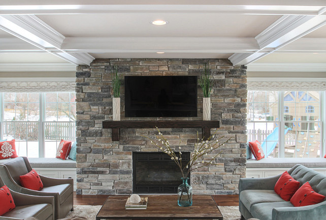 Fireplace Stone. Fireplace stone is Boral Echo Ridge Country Ledgestone. #Fireplace #FireplaceStone #LedgestoneFireplace