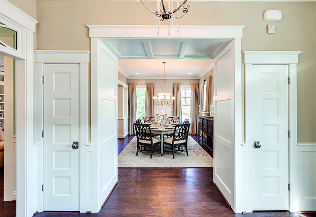 Foyer Closet Ideas. The foyer closets are subtly intergrated with the foyer millwork. #Foyer #Closet #FoyerCloset