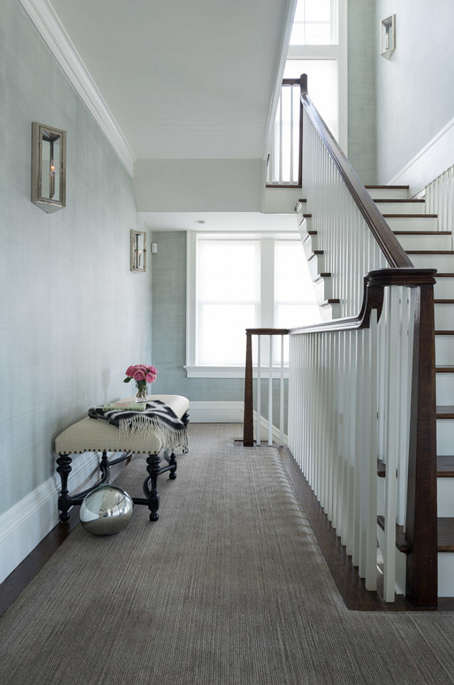 Foyer Ideas. Foyer Wall Color Ideas. Foyer Color Palette Ideas. Foyer with blue gray grasscloth wallpaper. #Foyer Alisberg Parker Architects.