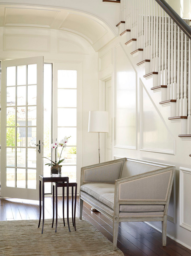 Foyer Seating Ideas. Foyer Seating. Foyer Bench. Foyer Settee. Traditional foyer with settee. #Foyer #FoyerSeating #Settee #FoyerSettee #TraditionalFoyer Kevin Spearman Design Group, Inc.