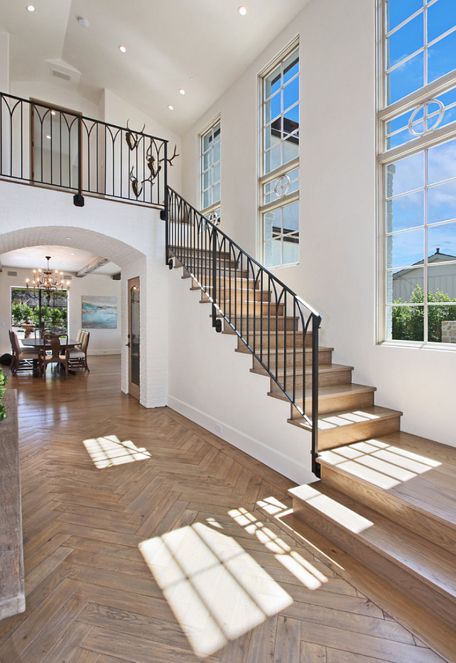 Foyer. Foyer Flooring. Foyer Flooring Ideas. Foyer Hardwood Flooring. Herringbone Pattern Flooring. #FoyerFlooring #Foyer #HerringboneFlooring Brandon Architects, Inc.
