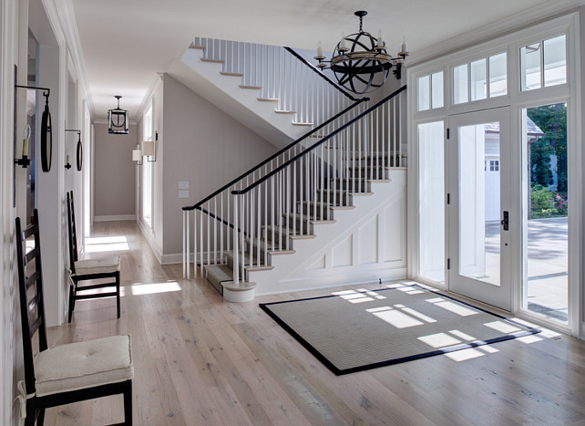 Foyer. Foyer with whitewash wood floors. Foyer #Whitewash #Flooring #WhitewashFlooring Fraerman Associates Architecture