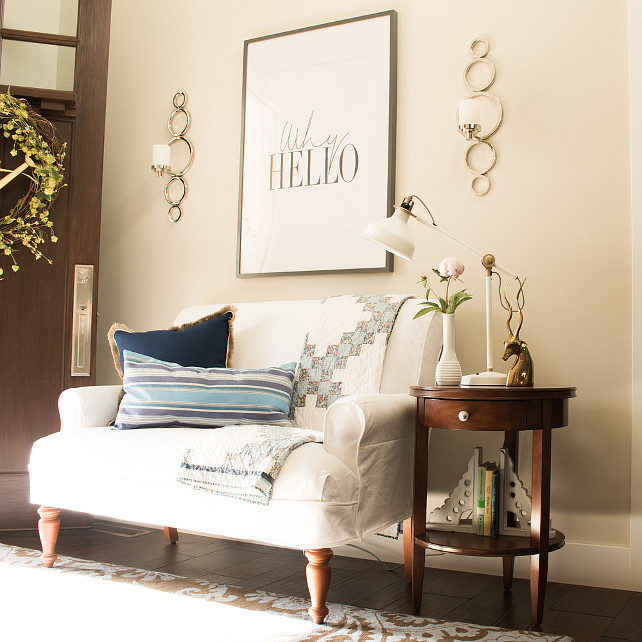 Foyer. Neutral foyer with settee. #Foyer #NeutralFoyer #settee Lindsay Hill Interiors.