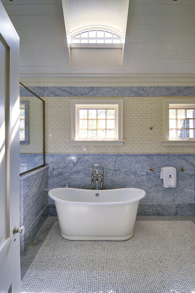 Freestanding Bath in Marble Bathroom. John Hummel & Associates.