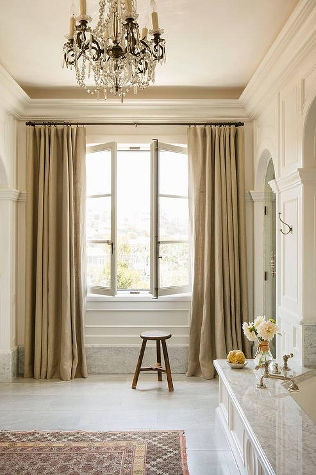 French Bathroom. French Bathroom with French Windows. French Bathroom with Linen Drapery. #FrenchBathroom Wendi Young Design.
