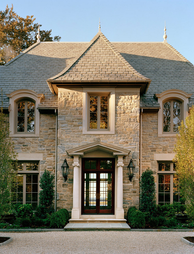 French Homes Exterior. French Homes Exterior Ideas. French Homes Stone Exterior. Front Door is are made by Dynamic Windows & Doors. #FrenchHomeExterior #FrenchHomeExteriorIdeas.