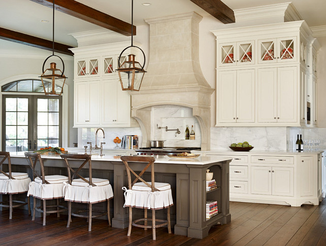 French Kitchen. French Kitchen with large island and skirted barstools. #FrenchKitchen #Kitchen #FrenchInteriors #SkirtedCounterstool #SkirtedBarstools Chenault James Interiors