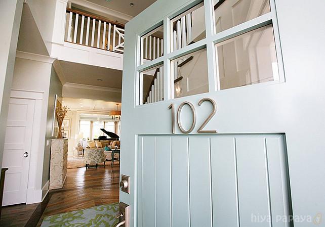 """Front Door Paint Color Ideas. Front Door Paint Color is """"Benjamin Moore Wythe Blue HC-143"""". #BenjaminMoore #WytheBlue #HC143"""