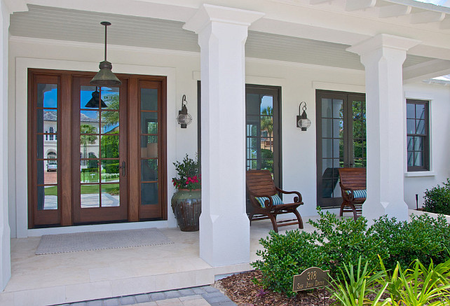 Front Porch. Front Door. Front porch with front door and French doors leading to porch. #Porch #Door #FrontDoor #FrenchDoors Cronk Duch Architecture.