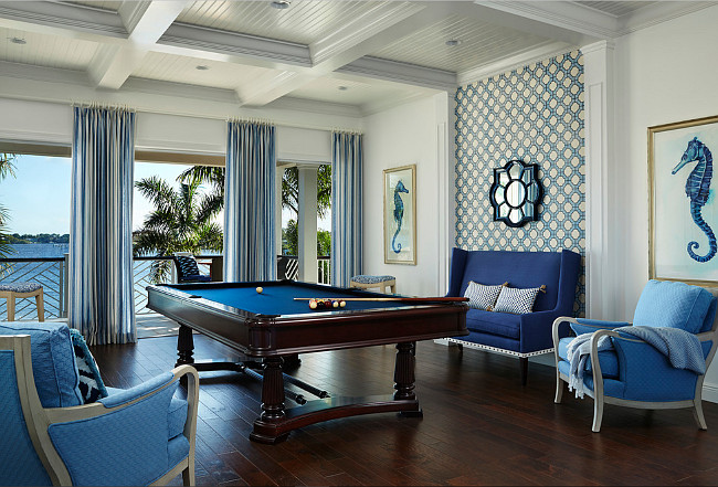 Game Room. Game Room Decor. Coastal game room with ocean view. Located on the second level of the house, the game room carries amazing water views and a blue and white motif. #GameRoom JMA Interior Design.