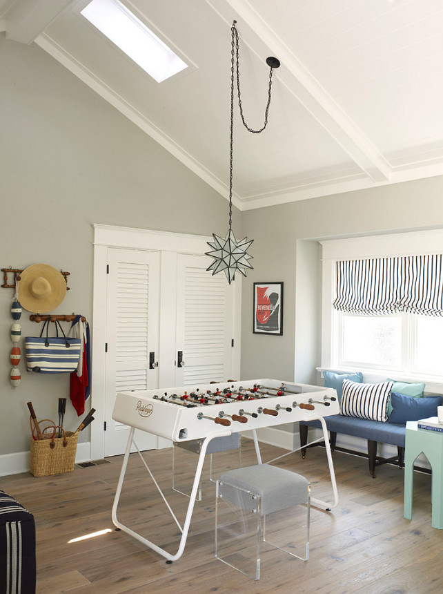 Games Room. Games Room Design.The pendant is from Circa Lighting. The foosball table is from Wayfair. The skylight is from Velux. #GamesRoom