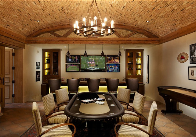 Games Room. Poker Table in Games room. Cave man. Michael Kelley Photography.
