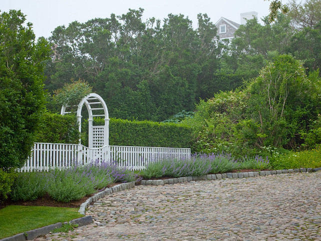 Garden Gate. White picket fence and garde gate. Landscaping. Cobblestone Hill, Nantucket MA. Anthony Crisafulli Photography.