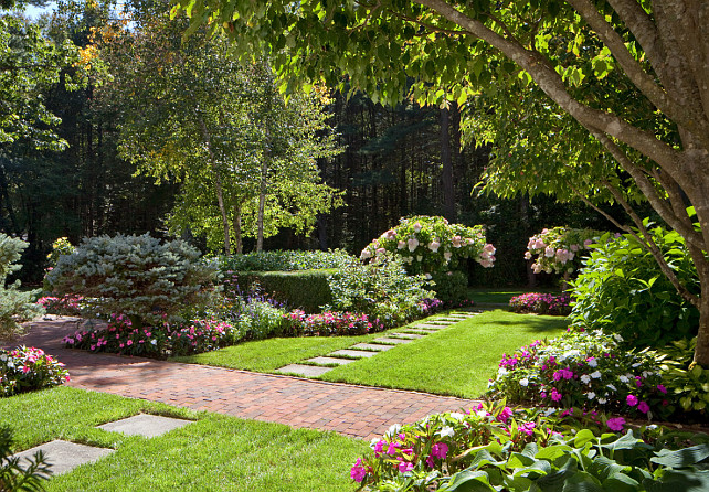 Garden Path and Garden beds. Mature landscaping. Garden. Anthony Crisafulli Photography. Sudbury Design Group.