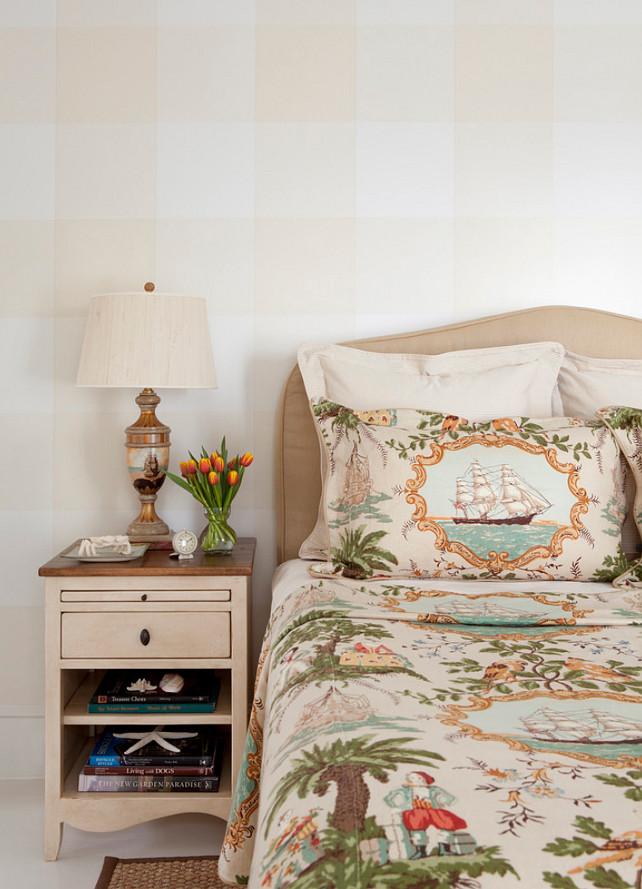 Gingham Wall Pattern. Coastal Bedroom Ideas. Neutral Coastal Bedroom #CoastalBedroom #Bedroom #CoastalInteriors  Jeannie Balsam LLC.