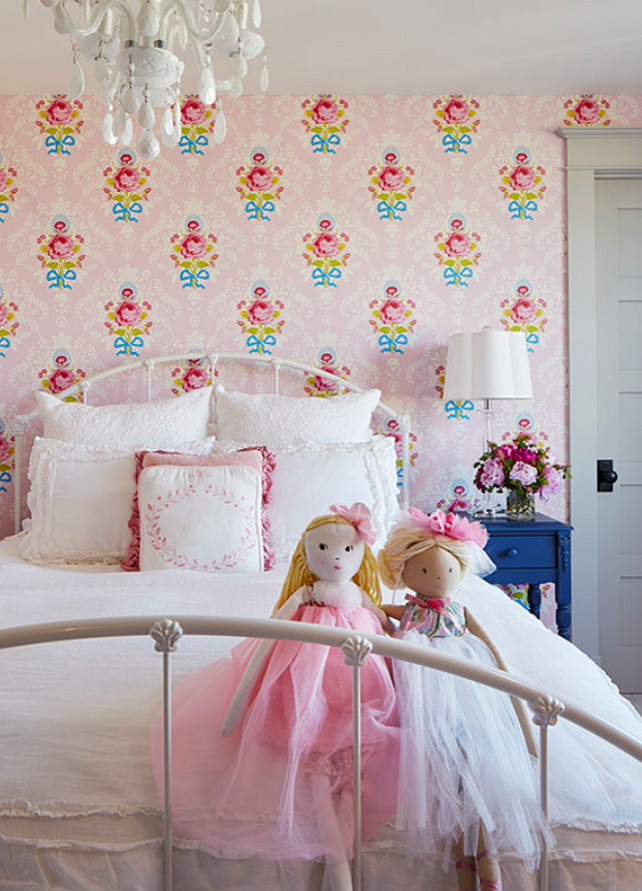 Girls Bedroom with Floral Wallpaper. #Floral #Wallpaper #GirlBedroom Martha O'Hara Interiors.