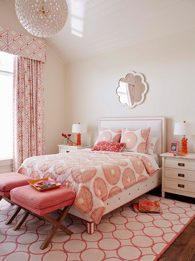 Girls Bedroom. Girls Bedroom Decor. Girls Bedroom Decorating Ideas. This Girls Bedroom features orange and pink decor. Lighting is from Oly. #GirlsBedroom #GirlsBedroomDecor #GirlsBedroomLighting #oly