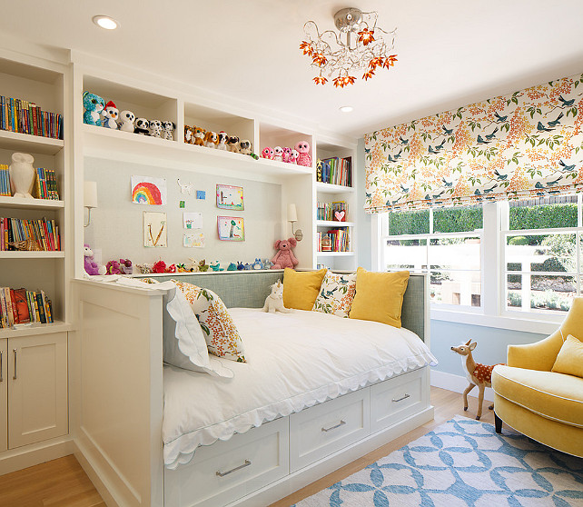 Girl's Bedroom. Little girl's bedroom with built-in bed and bookcase surrounding bed. EJ Interior Design. #GirlsBedroom