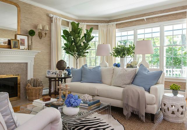 Grasscloth Wallpaper. Grasscloth Wallpaper Ideas. The Grasscloth Wallpaper in this living room is the Thibaut Grasscloth Wallpaper #GrassclothWallpaper Kate Jackson Design