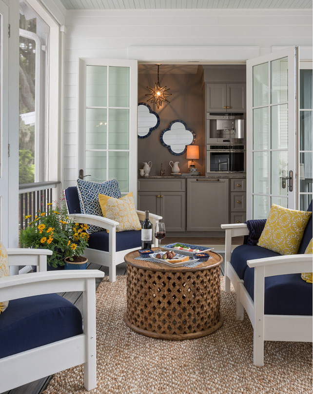 Gray Butler's Pantry Cabinet Paint Color. A butler's pantry is right off the deck featuring warm gray cabinets painted Benjamin Moore Graystone. #BenjaminMooreGraystone
