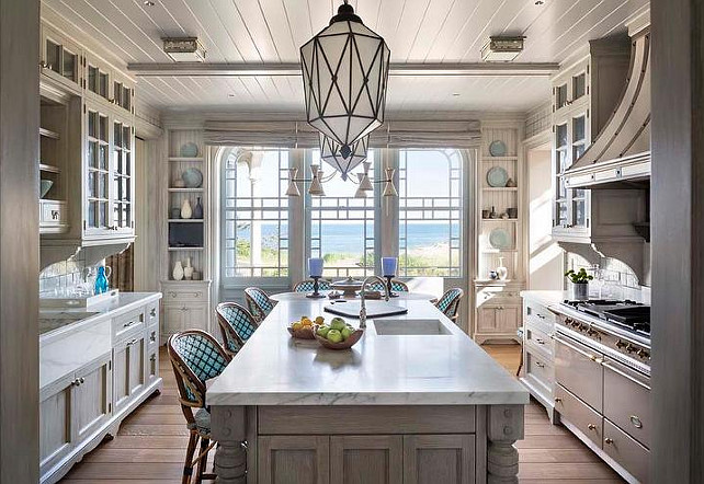 Gray Cottage Kitchen. Cottage kitchen features a beadboard ceiling. #CottageKitchen #Kitchen #KitchenBeadboardCeiling   Robert A M Stern Architects.