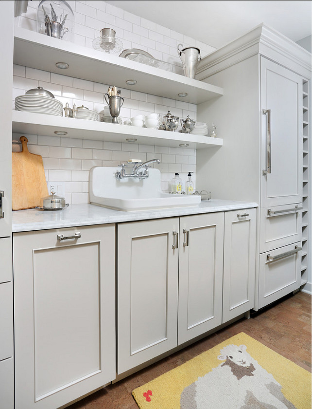 Gray Kitchen Ideas Small Gray Kitchen with open shelves and white
