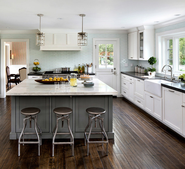 Gray kitchen island paint for Benjamin moore paint for kitchen cabinets