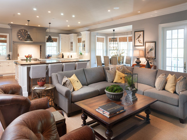 Gray Kitchen and Family Room. Open layout gray kitchen and family room. Open layout gray color palette. Sotheby's Homes.