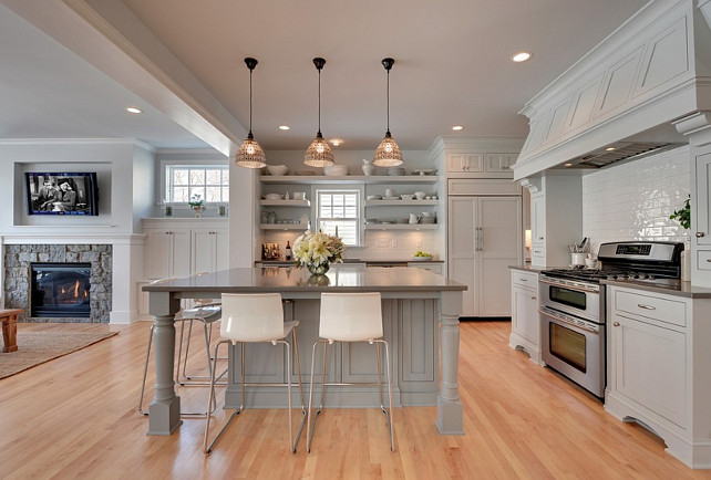 Gray Kitchen. Open Concept Gray Kitchen. Gray Kitchen Opens to Family Room. Gray Kitchen with open Shelves and white china. #GrayKitchen #OpenKitchen #OpenConcept #Kitchen Revision LLC.