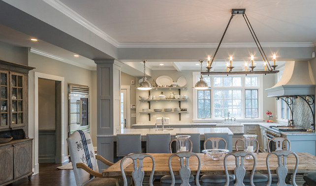Gray Kitchen. Pale Gray Kitchen. Gray Kitchen Ideas. Open Gray Kitchen. Open Gray Kitchen to Dining Room. Dining Room chandelier is the Currey & Company 9816 Houndslow - Eight Light Rectangular Chandelier, Satin Black Finish. #GrayKitchen Past Basket Design