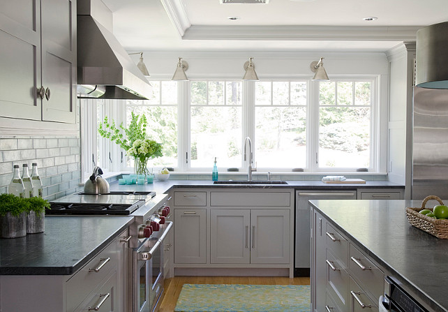 Gray Kitchen. Transitional Gray Kitchen. Gray Kitchen Cabinet. Gray Kitchen Lighting. Gray Kitchen Island. Gray Kitchen Countertop. #Gray #Kitchen #GrayKitchen Kristina Crestin Design.