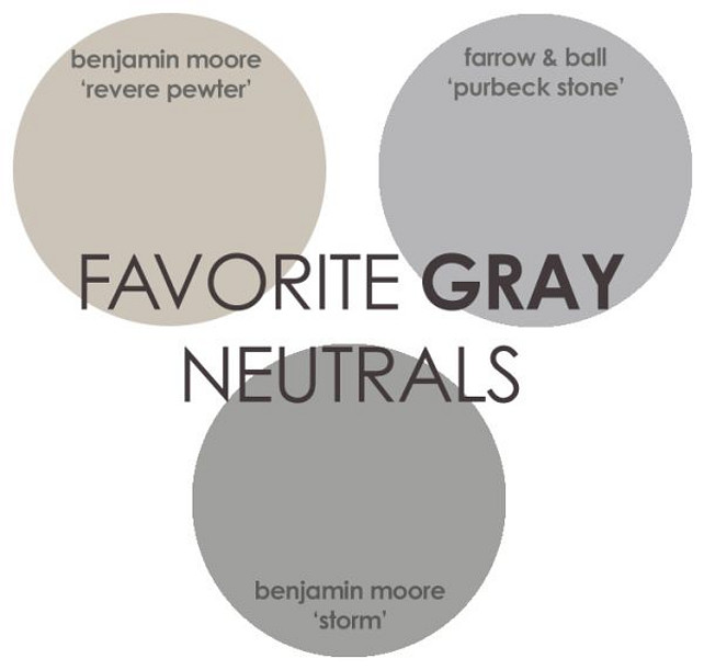 Gray Paint Color. Revere Pewter Benjamin Moore, Storm Benjamin Moore, Purbeck Stone Farrow and Ball. #GrayPaint #GrayPaintColor Via Rhiannons Interiors.