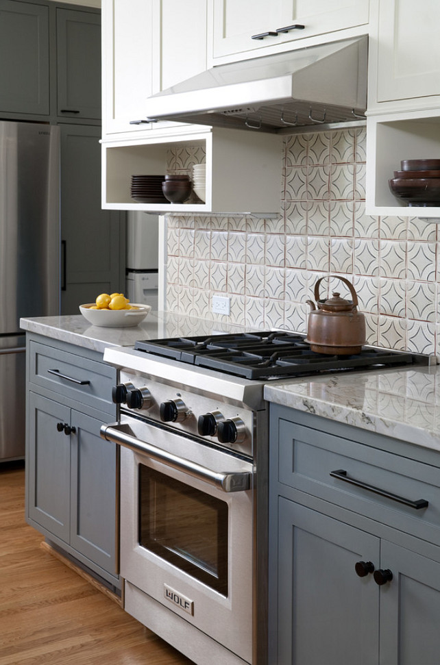 Gray and White Kitchen Cabinet Ideas. Kitchen with gray lower cabinets and white upper cabinets. #Kitchen #KitchenGrayLowerCabinets Jessica Risko Smith Interior Design.