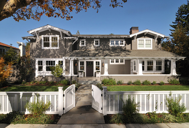 Gray exterior paint color. Gray home exterior with white trim. Gray home exterior paint color. #GrayExteriorPaintColor #GrayPaintColor #ExteriorPaintcolor FGY Architects.