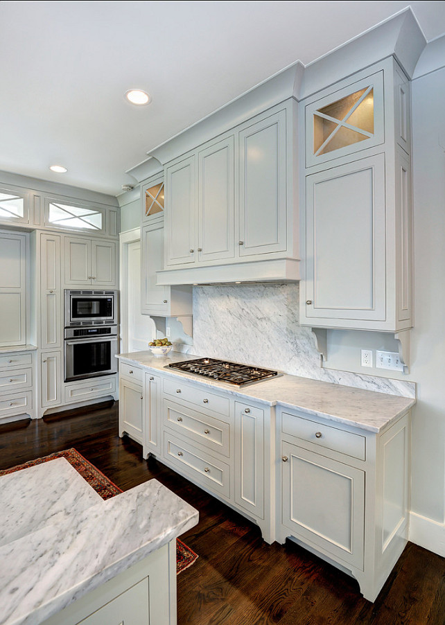 painted light gray, Benjamin Moore Gray Owl The pale gray cabinets